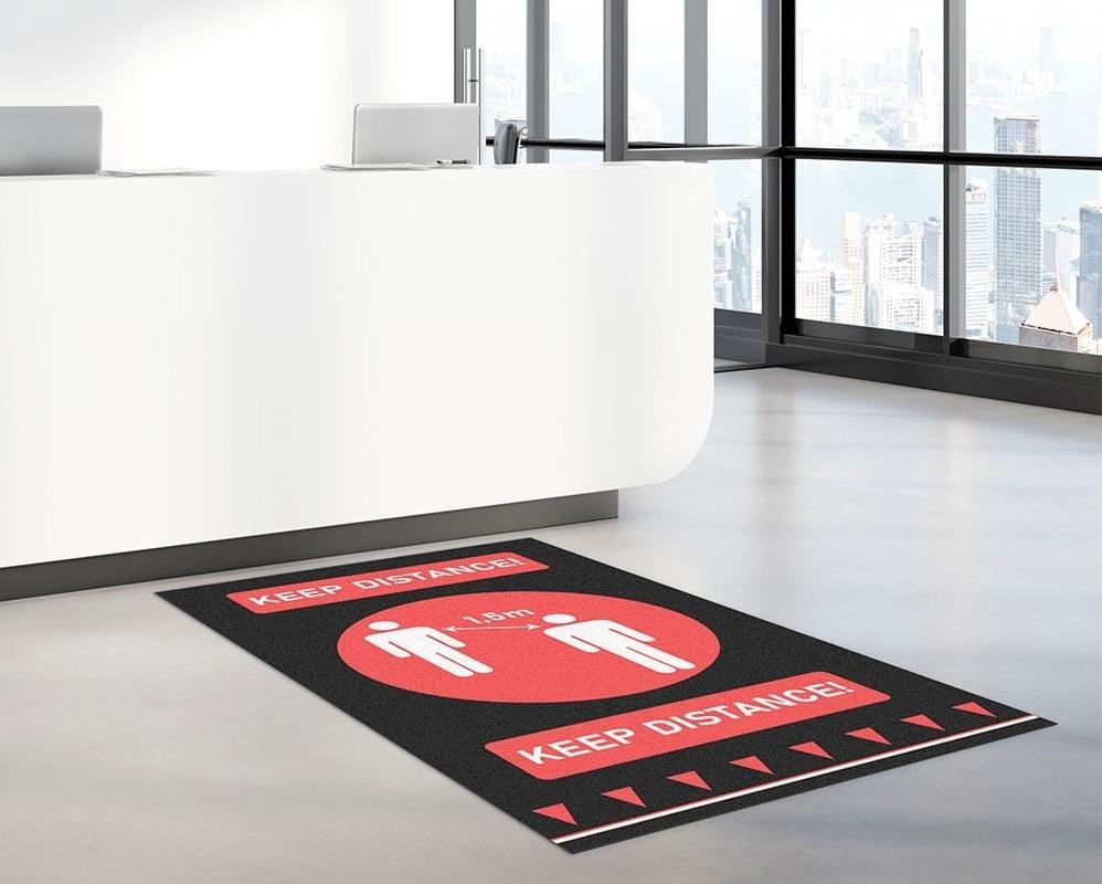 Social distancing floor mat in office reception
