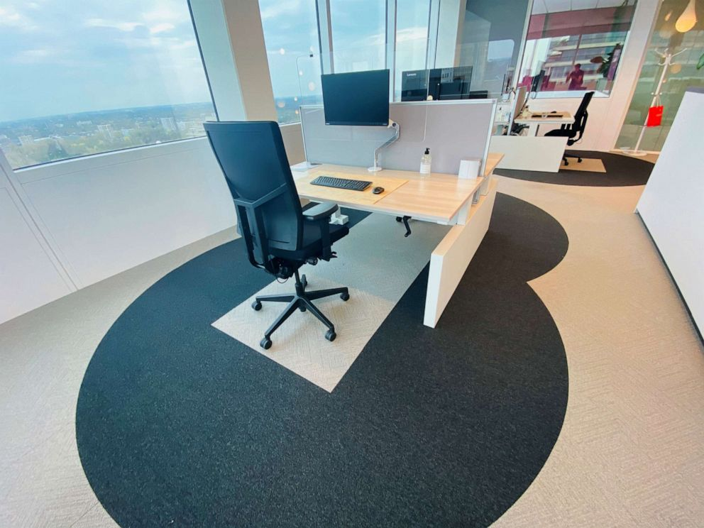 social distancing covid office flooring