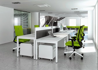 white office desking with green chairs