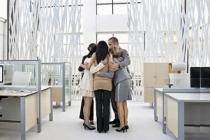 Open plan office huddle