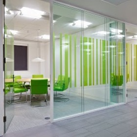 Glass partitioning in an open plan office
