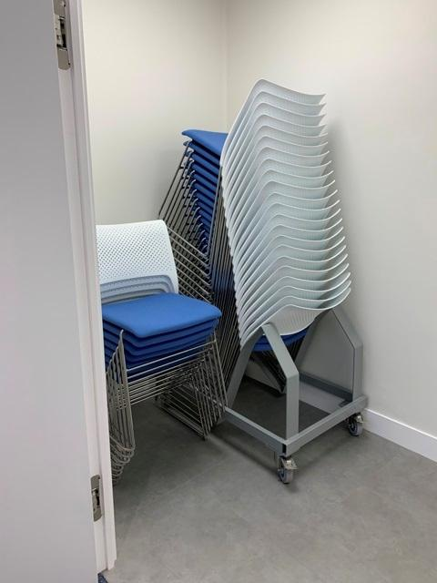 storage space with chairs