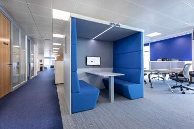 Acoustic booth in an open plan office