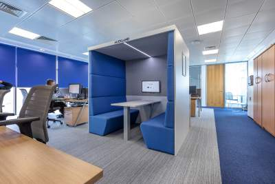 An acoustic booth in the head office of medica group, hastings