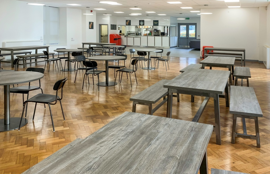 Nescot college canteen tables and chairs