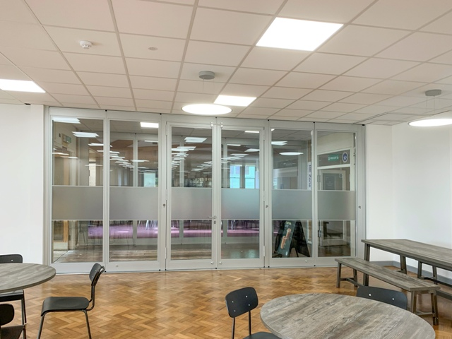 Interior folding doors in nescot college canteen
