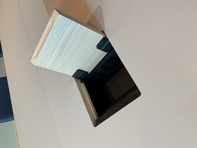 Data cable access flap in a Prime boardroom table by william hands