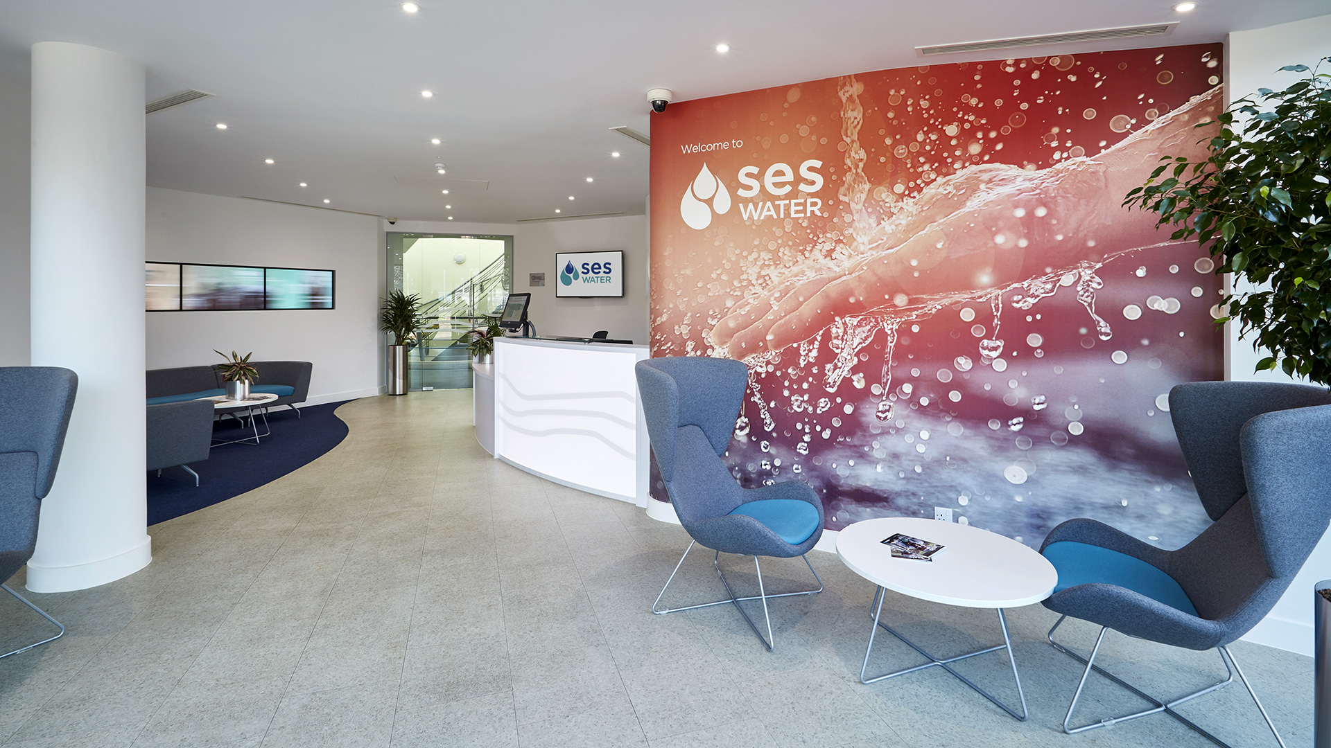 Newly refurbished reception of SES Water PLC
